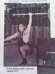 Ernie with a 77.5kg one-arm snatch, 1981